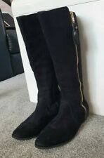 Marks & Spencer Girls Black Knee Length Suede Boots With Tassles Size 5