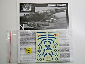 AMT Ertl 1:32 Scale Star Wars Anakin's Podracer Decal Sheet only - NEW