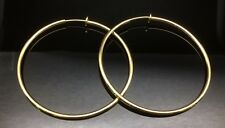 Spring CLIP ON Fake Piercing EXTRA  LARGE Hoop Rings Earrings 6cm 14ct Gold