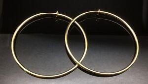 Spring GOLD CLIP ON Fake Piercing EXTRA LARGE Hoop Big Rings Earrings 6cm