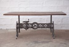 "84"" Industrial Crank dining table iron steam punk gears solid vintage wood top"