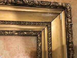"""Antique Gold Picture Frame Wood Ornate Gesso Fine Art Country 34"""" X 30""""LARGE"""