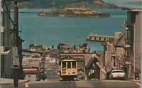 San Francisco Cable Cars Bay Alcatraz View CA Cars c1960s Postcard - Unposted 1