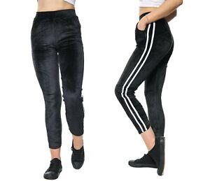 New Ladies Women Velvet Leggings With Stripe And Pocket Jegging Sizes 8-14 UK