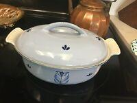 Vintage Descoware Enameled Cast Iron Dutch Oven BLUE -TULIP- Belgium