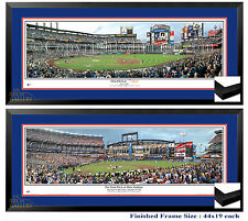 NY Mets Last Pitch at Shea & First Pitch at Citi Framed Panoramics 44x19 each