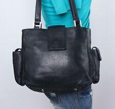 FOSSIL Medium Black Leather Shoulder Hobo Tote Satchel Purse Bag