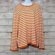 Saks Fifth Avenue Womens XL Orange White Striped Long Sleeves Cotton Knit Top
