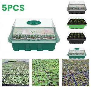 5X Plant Seeds Trays Grow Box 12Holes Propagation Nursery Seedling Starter Tray