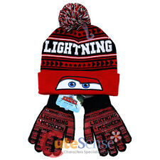 Disney Cars Mcqueen Beanie Gloves Set with Furry Ball