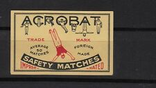 Ancienne    étiquette allumettes   Belgique   A1055 Acrobate average 50