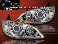 04-05 HONDA CIVIC 2/4 DOOR PROJECTOR HEADLIGHTS HALO CHROME 2004 2005