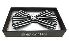 Halloween Men's Accessories White Skull with Black Stripe Adjustable Bow Tie