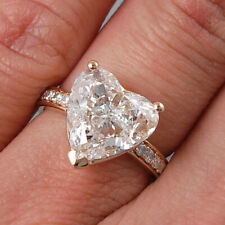 Solid 10K Rose Gold 5.00 Ct Diamond Heart Shape Engagement Ring For Women's