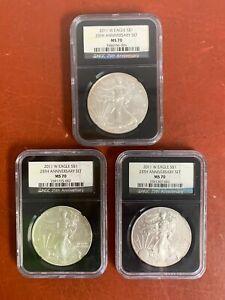 2011 W American Silver Eagle 25th Anniversary Set MS70