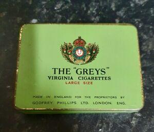"VINTAGE - THE ""GREYS""  VIRGINIA CIGARETTES LARGE SIZE - EMPTY TIN"