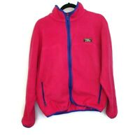 Vintage 90's LL Bean Womens Fleece Jacket Pink Full Zip Retro Size Large