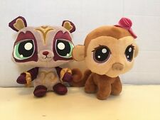LPS Littlest Pet Shop Plush Sassiest Panda 2008 & Bobble Head Monkey 2005