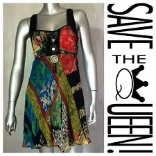SAVE THE QUEEN Silk Braided Sheer Boho Pendant Fringe Tassel Empire Waist Dress