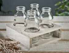 Set of Four Milk Bottle Style Vases in Rustic Wooden Tray ~ Wedding, Gift, etc
