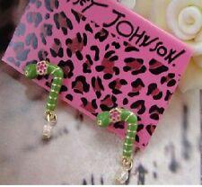 E68 BETSEY JOHNSON Caterpillar Pastoral Series Worm Mensao Pieris Earrings US
