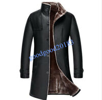 New Mens Real Leather Long Trench Coat Warm Fur Lining Fleeces Thicken Casual SZ
