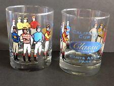 2 Santa Anita Park Bar Glasses California Cup IX 9 Classic Winners Lowball Rock