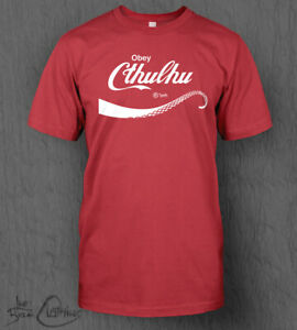 Obey Cthulhu T-shirt MEN'S HP Lovecraft Coca-Cola Style Parody Call of Cthulhu