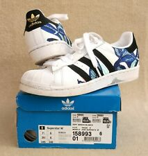 ADIDAS Girls Ladies Superstar Trainers White Embroidered Flowers UK 6 EU 39 1/3