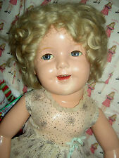 """Ideal 1930 sgnd 27"""" composition FLIRTY Shirley Temple doll, tagged """"CURLY TOP"""""""
