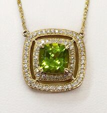 14k Yellow Gold 4.25 Ct Natural Diamond & Peridot Womens Necklace Double Halo