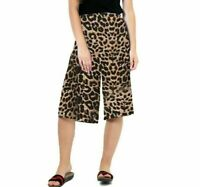 Ladies Animal Leopard Print 3/4 Length Cropped Wide Leg Culottes Palazzo Pants