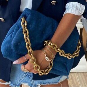 ZARA BLUE QUILTED DENIM SHOULDER BAG CHUNKY GOLD METAL CHAIN CROSSBODY HANDBAG M