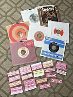 rare lot 60s 70s vinyl 45rpm AND rare NOS title strips w/ Zeppelin Grateful Dead
