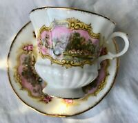 PARAGON Teacup & Saucer CHIPPENDALE PASTORAL SCENE Footed Bone China ENGLAND