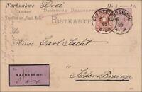 Ganzsache als Nachnahme von Flensburg nach Süder Brarup  1885