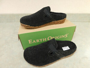 Earth Origins Felt Slip On Clogs with Strap~Jenna~Black~8W New in Box Free Ship