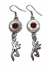 WINCHESTER 38 Special Bullet Jewelry Dangle Earrings w. Buck Deer (Made in USA)