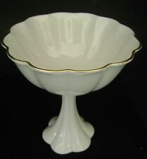 Lenox Pedestal Candy Dish / Bowl Cream Scalloped Edge 24k Gold Trim