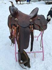 Antique /vintage high back Western saddle w/brass horn, saddle bags, tapaderos