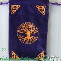 TREE of LIFE TAROT/ANGEL/RUNES VELVET POUCH 2 COLOURS PURPLE or BLACK+FREE POST+