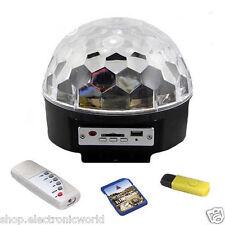 PROIETTORE RGB A SFERA LED LUCI EFFETTI DISCOTECA DJ MULTICOLORE USB SD CARD