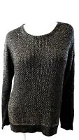 NWT $70 GRACE ELEMENTS WOMENS BLACK/GOLD METALLIC CREW NECK SWEATER SIZE XL