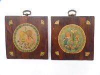 Vintage Wall Plaques Set Little Girls Handmade Decoupage