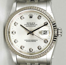 MENS STAINLESS STEEL ROLEX DATEJUST, QUICKSET W/ SILVER DIAMOND DIAL, ORIG. BAND