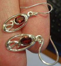 Superb Sterling Silver and Garnet Dangly Drop Ear Rings