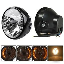 "7"" Round Motorcycle Front Headlight Amber Turn signal Light 12V 35W Headlamp"