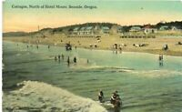 Antique Post Cards c.1916 Oregon Seaside Cottages Swimmers Beach
