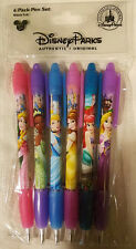 DISNEY PARKS PRINCESS 6 PACK PEN SET black ink rubber grip Aurora Ariel ++ - NEW