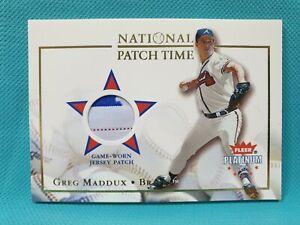 2002 Fleer Platinum National Patch Time Greg Maddux MLB Logo Tag /115 JERSEY A2